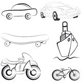 Het vervoer vectorillustratie van de schets Stock Afbeeldingen
