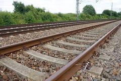 Het vervoer Zug van Gleis van de spoorspoorweg Stock Foto