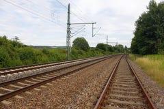 Het vervoer Zug van Gleis van de spoorspoorweg Stock Foto's