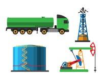 Het vervoers vectorillustratie van de olieextractie Stock Afbeeldingen