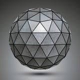 Het vervormde grunge voorwerp van de koper 3d veelhoekige technologie, samenvatting Royalty-vrije Stock Afbeeldingen