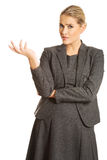 Het verwarde vrouw tonen irriteert gebaar Royalty-vrije Stock Foto's