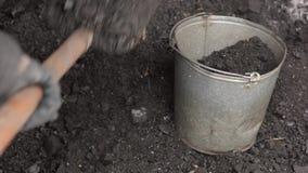 Het verwarmen van een buitenhuis met steenkool, een mens laadt steenkool in een emmer stock videobeelden