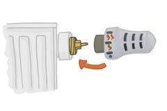 Het verwarmen van Radiator met thermostatisch hoofd Het verwarmen huisvector Stock Foto's