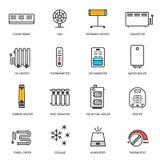 Het verwarmen, ventilatie en het conditioneren geplaatste pictogrammen Royalty-vrije Stock Afbeelding
