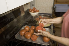 Het verwijderen van huid uit tomaten. Stock Fotografie