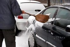 Het verwijderen van sneeuw Stock Foto