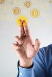 Het verzamelen bitcoins Stock Fotografie