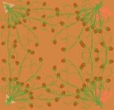 Het verzamelen van kruidenaardbeien op een heldere oranje achtergrond Stock Afbeeldingen