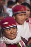Het verzamelen zich van etnische Tharu, Chitwan, Nepal Stock Fotografie