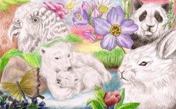 Het verzamelen zich van vele dieren Stock Foto