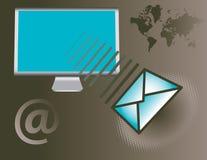 Het verzenden van e-mail rond de wereld Stock Afbeeldingen