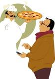 Het verzoeken van pizzalevering Stock Fotografie
