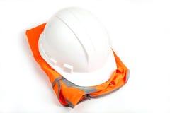Het vest andhard hoed van Ðrange. op wit Stock Fotografie