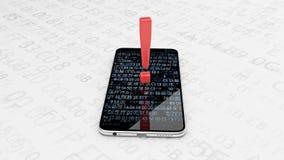 Het vestigen van de aandacht op het werk van de telefoon Smartphone-veiligheid, het binnendringen in een beveiligd computersystee royalty-vrije illustratie