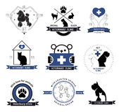 Het veterinaire element van het de etikettenontwerp van het kliniekembleem Behandeling van dierenziekten Stock Foto