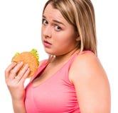 Het vette vrouw op dieet zijn Royalty-vrije Stock Foto's
