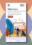 Het video blogging bij het inschepen van de schermen - Vlakke stijl vectorillustratie stock illustratie