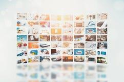 Het videomuurtelevisie-uitzending van verschillende media royalty-vrije stock afbeelding