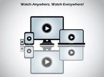 Het videopictogram van het filmspel op computerlaptop Stock Afbeeldingen