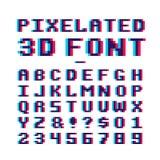 Het videospelletje pixelated 3d doopvont oud de school Latijns alfabet met 8 bits van de pixelkunst met anaglyph vervormingseffec vector illustratie