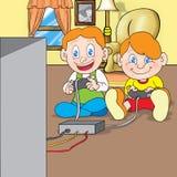 Het videospelletje van het spel thuis Stock Foto's