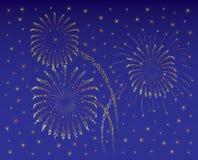 Het Vierde van Fireworkon van Juli of Nieuwjaar/donkerblauw Stock Afbeeldingen