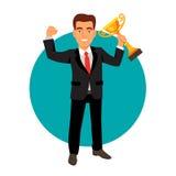Het vieren de trofee van de de winnaarkop van de zakenmanholding Stock Foto