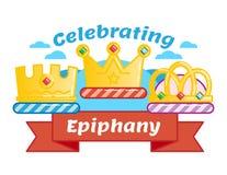 Het vieren Drie koningendag of Epiphany, geïllustreerd vectorembleemkenteken Royalty-vrije Stock Afbeeldingen
