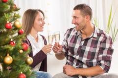Het vieren Kerstmis of Nieuwjaar Stock Afbeelding