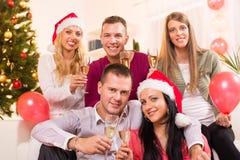 Het vieren Kerstmis of Nieuwjaar stock foto