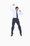 Het vieren kleinhandelaar het springen Stock Foto's