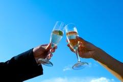 Het vieren met een toost Royalty-vrije Stock Fotografie