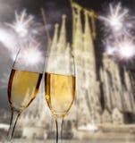 Het vieren Nieuwjaar in Barcelona Stock Foto's