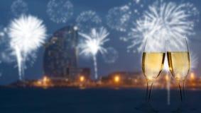 Het vieren Nieuwjaar in Barcelona Stock Fotografie