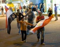 Het vieren overwinning voor Egypte in de Afrika kop Royalty-vrije Stock Foto's