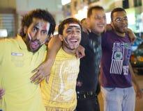 Het vieren overwinning voor Egypte in de Afrika kop Stock Afbeeldingen