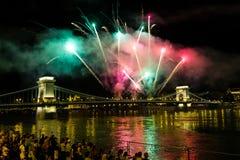 Het vieren St Stephen Dag in Boedapest Stock Foto