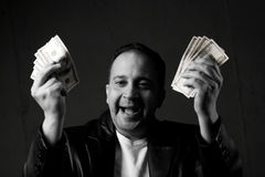 Het Vieren van de mens met Contant geld Stock Fotografie