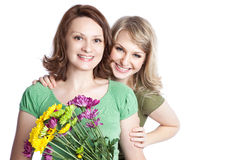 Het vieren van de moeder en van de dochter de dag van de moeder Royalty-vrije Stock Foto's