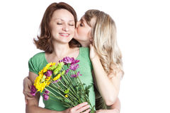 Het vieren van de moeder en van de dochter de dag van de moeder stock foto's