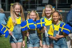 Het vieren van de Nationale dag van Zweden Stock Afbeelding