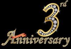 Het vieren van 3de verjaardags gouden teken met diamanten, vectoril Royalty-vrije Stock Foto