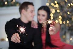 Het vieren van het paar Kerstmis Royalty-vrije Stock Foto's