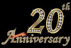 Het vieren van 20ste verjaardags gouden teken met diamanten, vector Stock Afbeeldingen