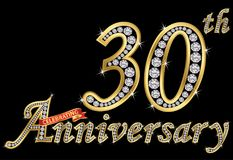 Het vieren van 30ste verjaardags gouden teken met diamanten, vector Stock Foto
