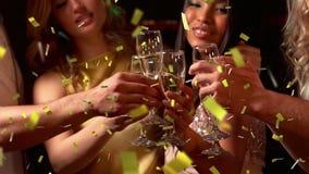 Het vieren van vrienden stock footage