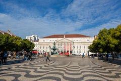 Het vierkant en het theater van LISSABON Rossio royalty-vrije stock foto