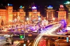 Het Vierkant of Maidan van de onafhankelijkheid, in Kiev, de Oekraïne stock afbeelding