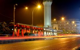 Het vierkant van de Bandungstad bij nacht Stock Foto